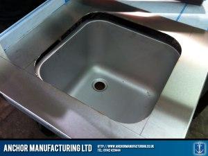 Steel cutting sink bowl.