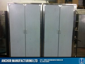 Free standing stainless steel kitchen storage cupboards.