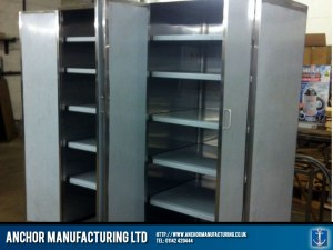 Steel kitchen storage cupboard.