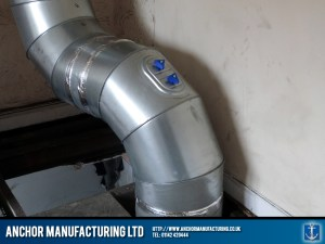 'U' bend internal galvanised ducting.