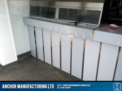 Steel cladding on shop counter.