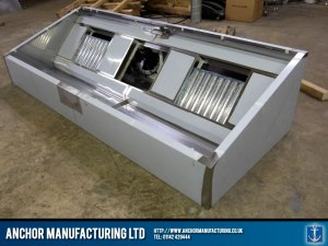 Sheffield stainless steel kitchen canopy with Helios fan.