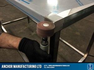 detailed steelwallbench polishing