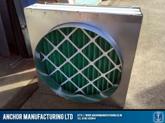 Fresh air kitchen canopy input box with carbon filters x 2