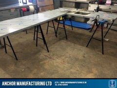 Stainless steel sink fabrication work top