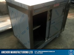 School kitchen hot cupboard sliding door