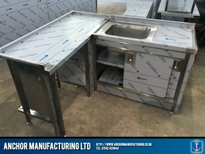 Domestic Stainless Steel Sink cupboard table