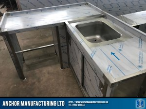 Domestic Stainless Steel Sink cupboard with table