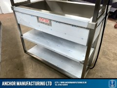 Stainless Steel custom hot cupboard back shelving
