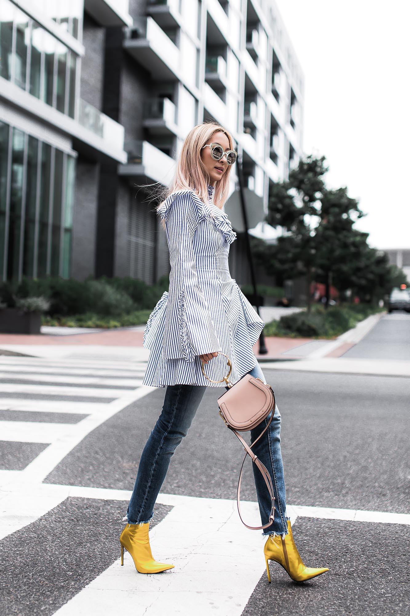Anchyi Wei fashion blogger street style in Caroline Constas shirt dress, Chloe Nile bag and Haider Ackermann gold boots