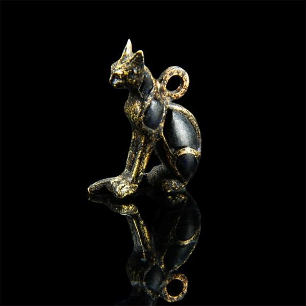 Stunning Egyptian Gold and Lapis Amulet of Bastet