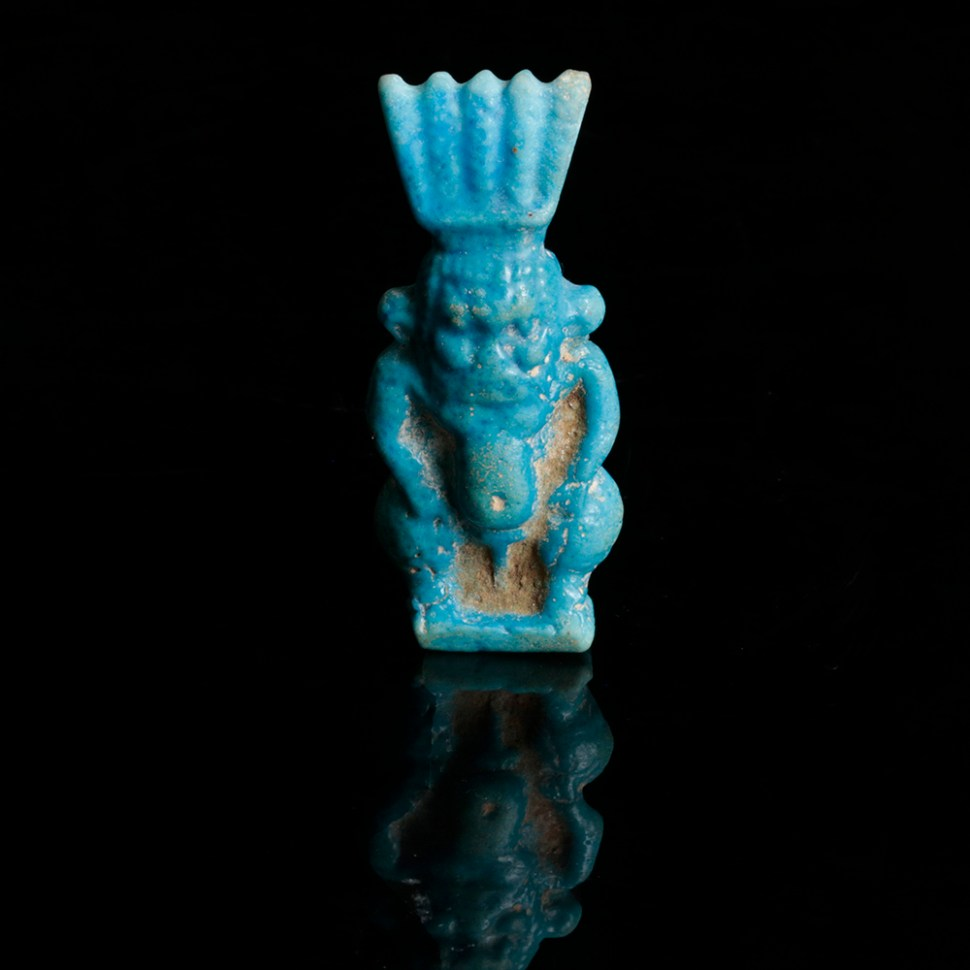 Amarna Period Glazed Faience Bes Amulet