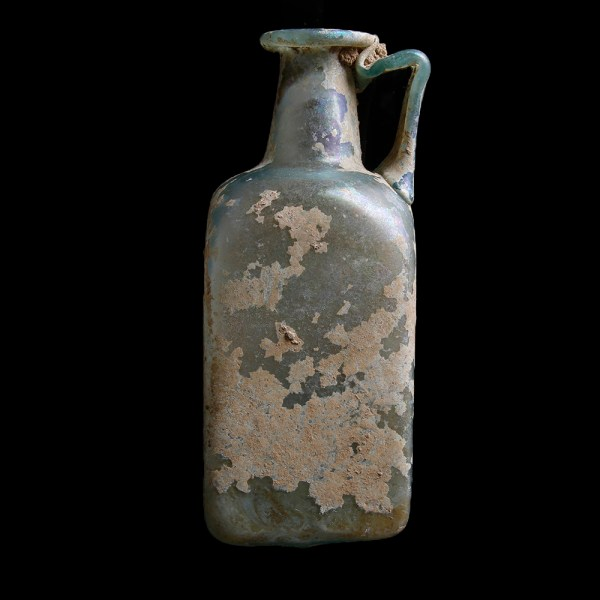 Large Roman Glass Rectangular Bottle