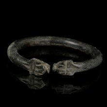 Luristan Bronze Bangle with Decorated Terminals