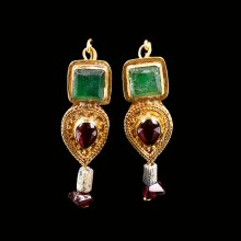 Roman Gold Earrings with Garnets and Green Glass