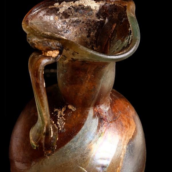 Roman Tri-Footed Marbled Glass Jug