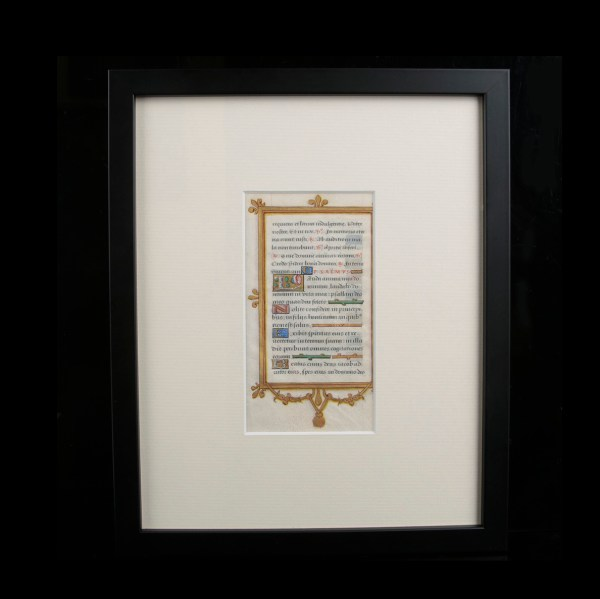 Medieval Manuscript in Custom Frame