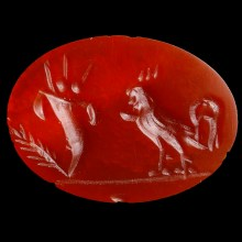 Roman Carnelian Intaglio with Auspicious Depiction