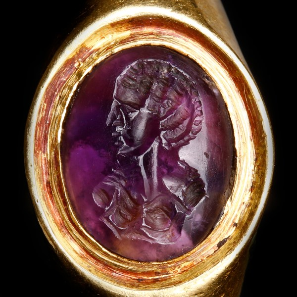 Amethyst Intaglio Set in Roman Gold Ring