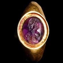Amethyst Intaglio Set in Roman Gold Ring