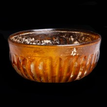 Roman Amber Glass Bowl with Ribbed Decoration