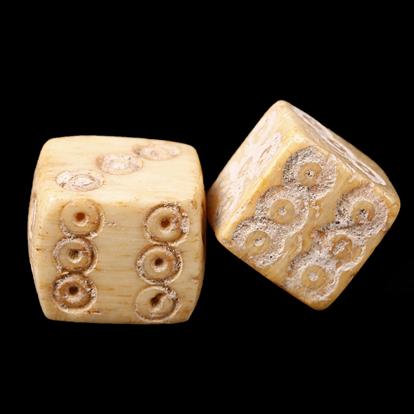 Roman Pair of Dice Modelled in Bone