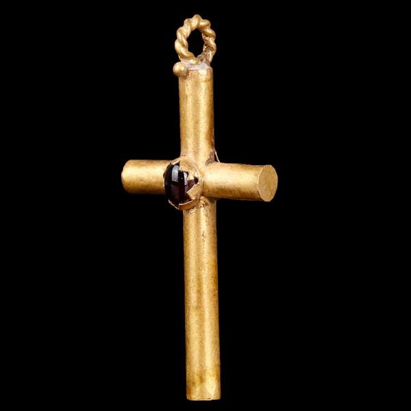 Byzantine Gold Cross with Cabochon Garnet