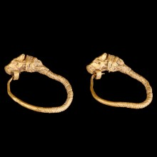 Greek Hellenistic Earrings with Bull Head Terminals