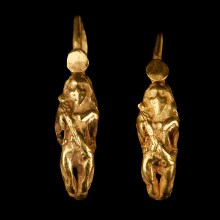 Greek Hellenistic Earrings with Eros