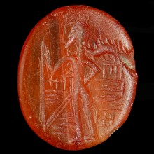 Neo-Babylonian Carnelian Intaglio with Cultic Scene