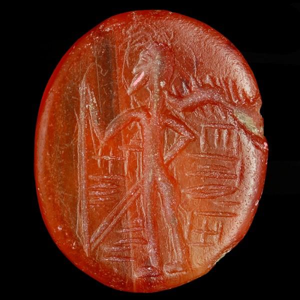 Neo-Babylonian Carnelian Intaglio with Cultic Scene