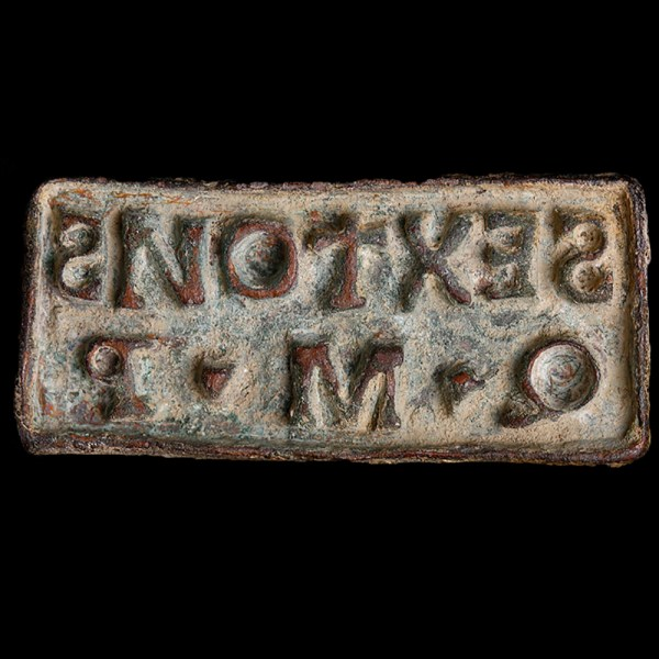 Roman Bronze Signaculum with Slave and Master Name