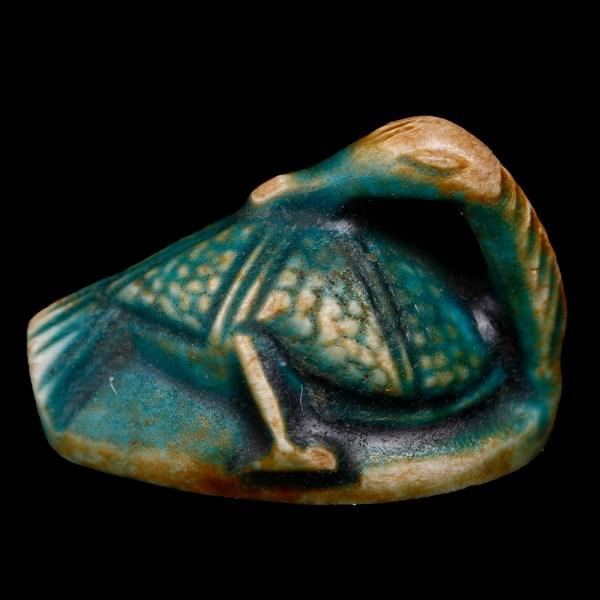 Egyptian Faience Duck Scaraboid with Pharaoh Prenomen