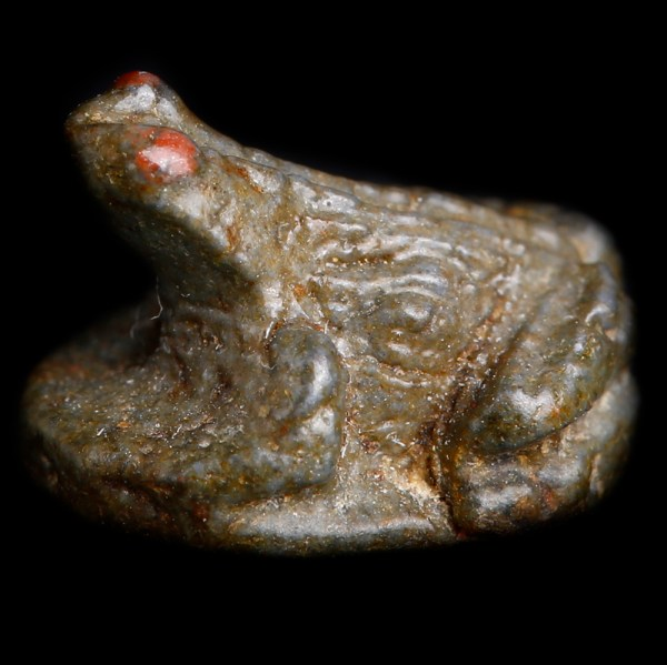 Egyptian Faience Frog Amulet with Nefer Hieroglyph