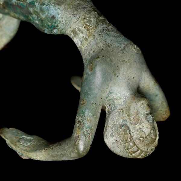Etruscan Bronze Cista Handle of an Acrobat