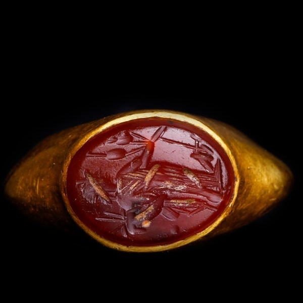 Ancient Roman Gold Ring with Carnelian Intaglio of Fortuna