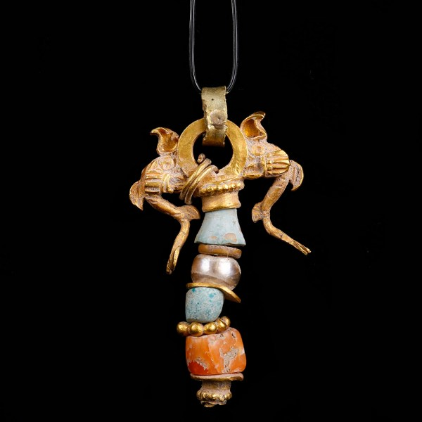 Ancient Greek Gold Beaded Dolphin Pendant