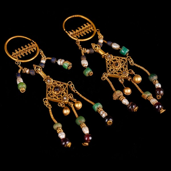 Superb Byzantine Matching Pair of Chandelier Earrings