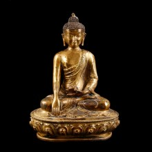 Tibetan Gilt Figure of Buddha of Medicine Bhaishajyaguru
