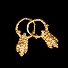 Ancient Greek Gold Grape Cluster Earrings