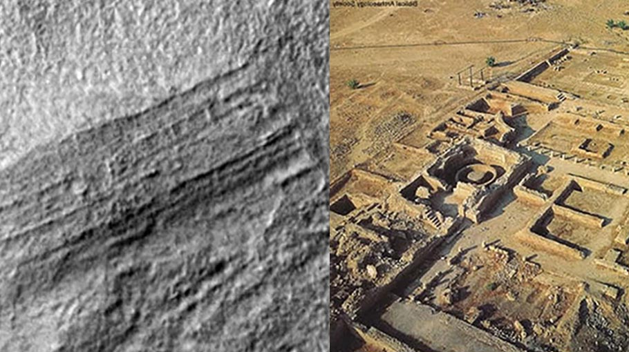 A comparison of the structures on Mars (left) and an archaeological site on Earth (right).