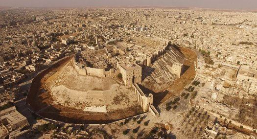 Aerial view of The Aleppo Citadel