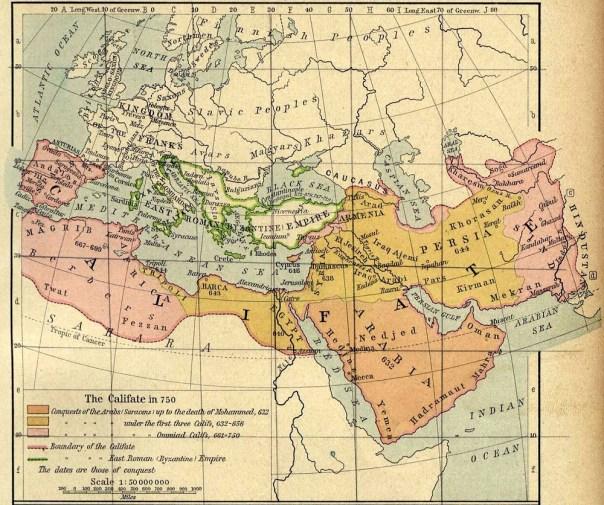 Un mapa del califato omeya.