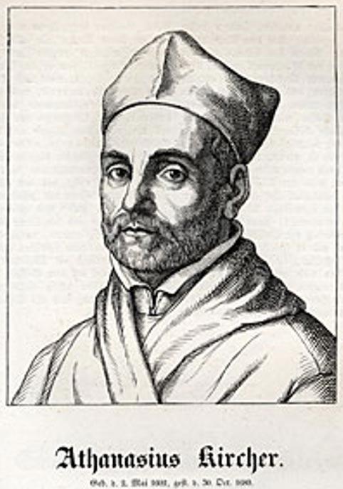 Un grabado de madera de Athanasius Kircher (1602-1680).