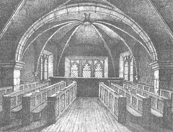 La Capilla de Santa María, en la que se encerraba a las acusadas de brujería en el siglo XVI mientras esperaban su juicio. Dibujo realizado en el año 1868 (Open Space Trust/Mither Kirk Project)