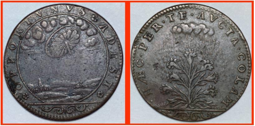 Las dos caras del getón: en una de ellas observamos un objeto circular en el cielo; en la otra, una planta y nubes descargando lluvia. ( Scott C. Waring )