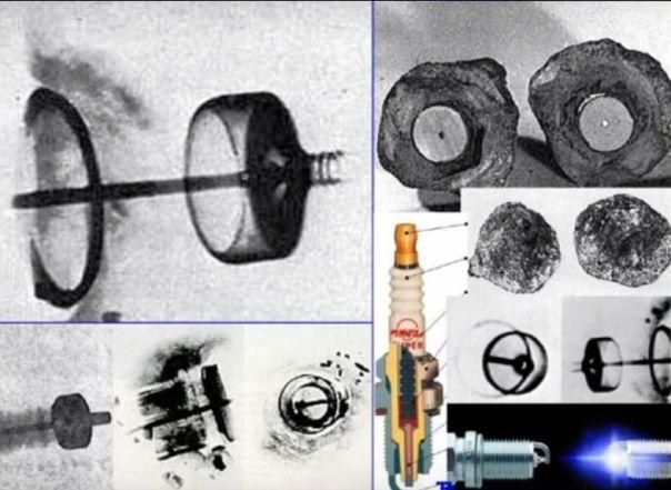 Comparación del Artefacto de Coso con bujías modernas. (Captura de pantalla/Youtube)