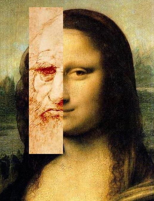 Comparación de la Mona Lisa con el dibujo que a menudo se considera un autorretrato de Leonardo. Public Domain