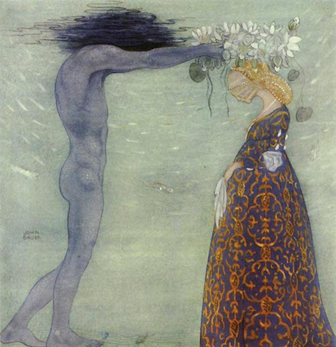 """Coronación de la Reina del Mar: """"Ahora serás mi reina y te quedarás conmigo para siempre."""" Ilustración de John Bauer. (Melusina Mermaid)"""