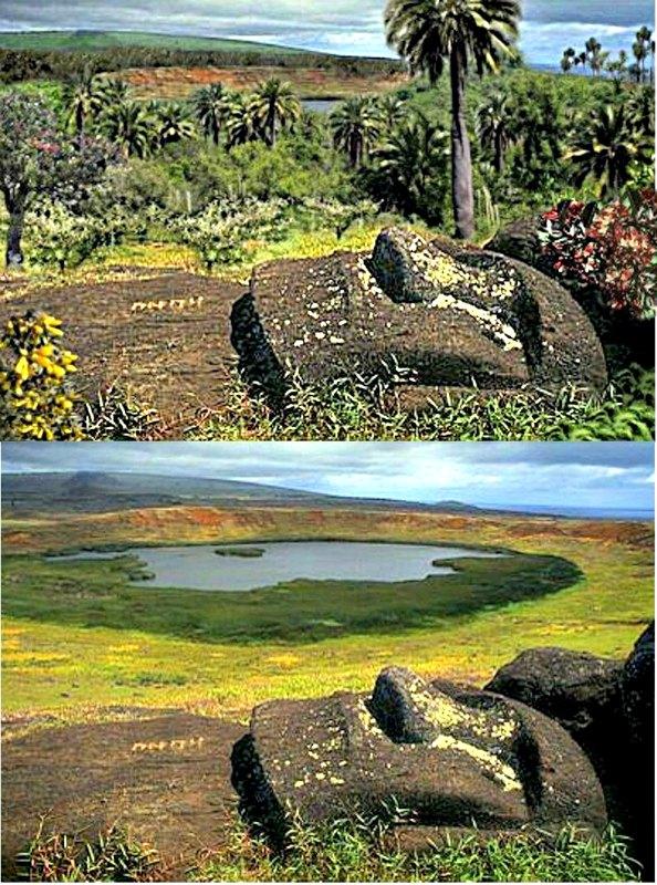 Comparativa entre cómo debía ser la vegetación en la isla de Pascua en el pasado (imagen superior) y cómo es actualmente. (Rod6807/CC BY-SA 3.0)